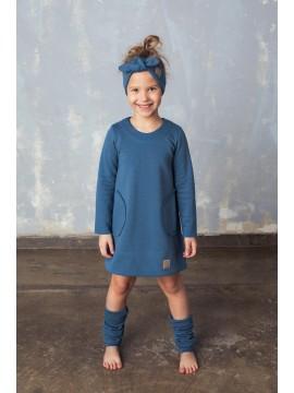 Tuss vaikiška suknelė Pocket. Spalva mėlyna