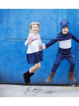 Tuss vaikiška suknelė varpelio formos 2019m. Spalva alyvinė / pilka / mėlyna